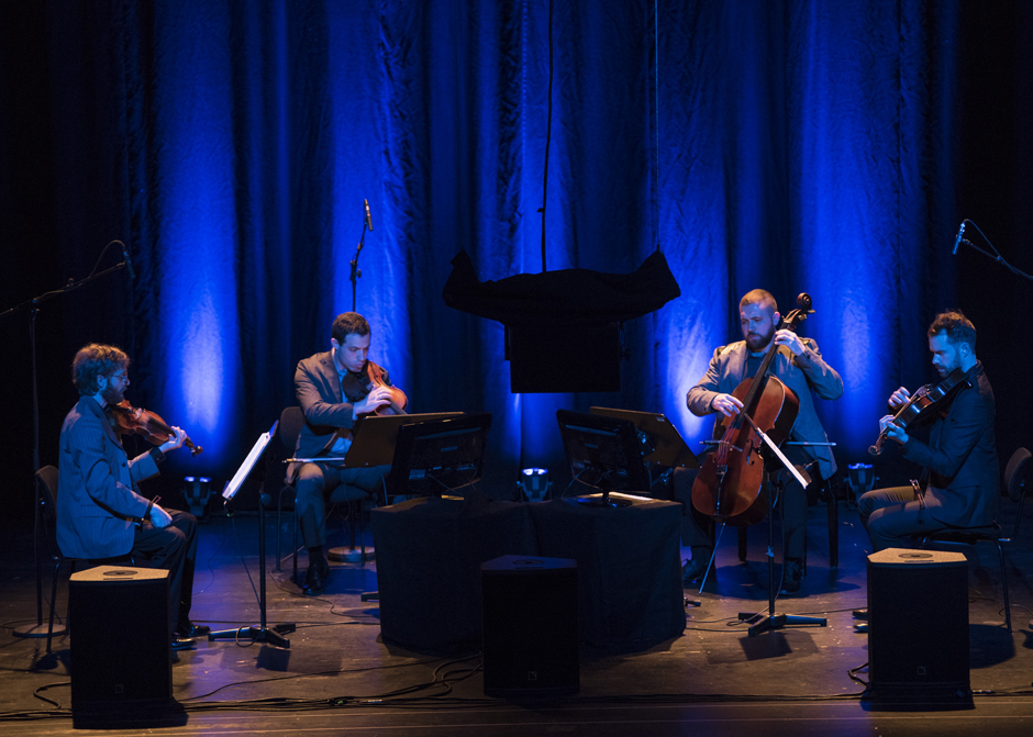 The Jack Quartet performs HIDDEN. Photo by Kai Bienert.