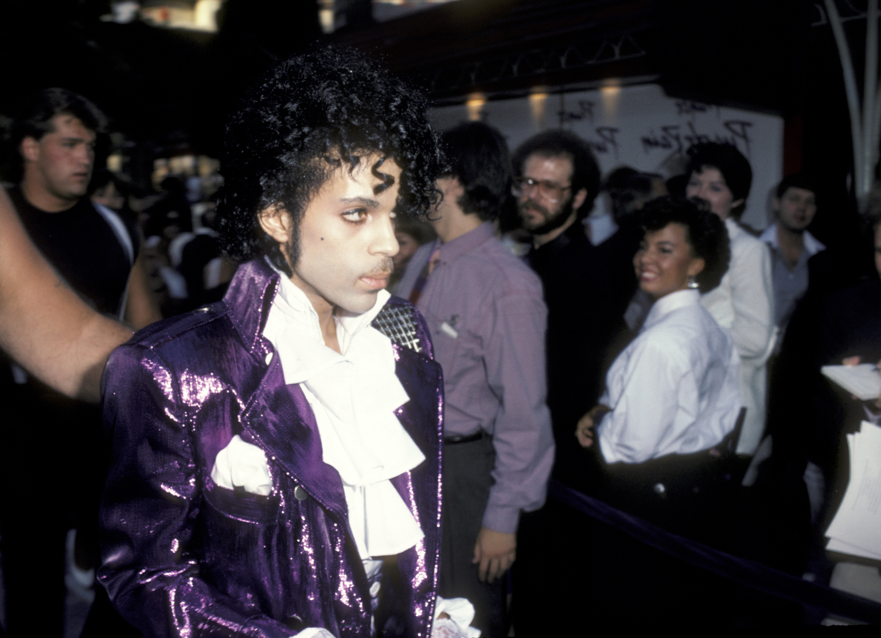 HOLLYWOOD - JULY 26: Musician Prince attending the premiere of 'Purple Rain' on July 26, 1984 at Mann Chinese Theater in Hollywood, California. (Photo by Ron Galella, Ltd./WireImage)