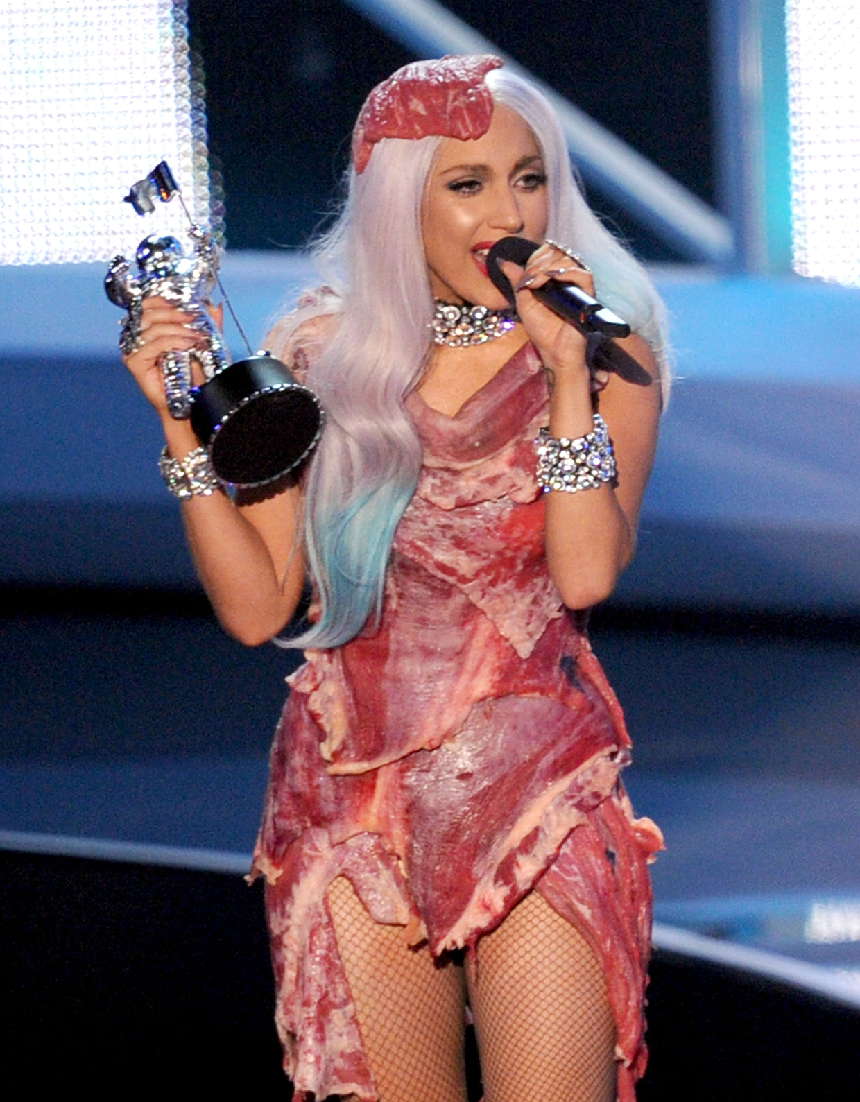 LOS ANGELES, CA - SEPTEMBER 12:  Singer Lady Gaga accepts the Video of the Year award onstage during the 2010 MTV Video Music Awards at NOKIA Theatre L.A. LIVE on September 12, 2010 in Los Angeles, California.  (Photo by Kevin Winter/Getty Images) *** Local Caption *** Lady Gaga