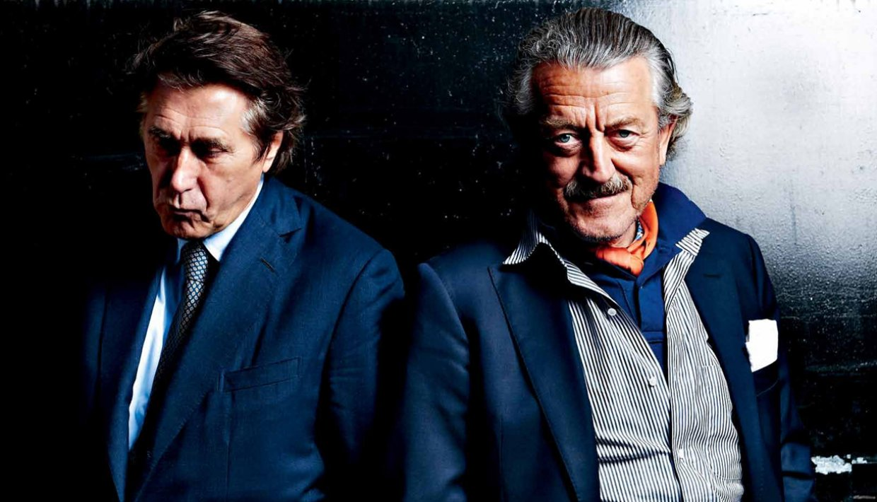 Dieter Meier and Bryan Ferry. Electronic Beats Magazine N° 27, Fall 2011. Photographed by Frank Bauer.