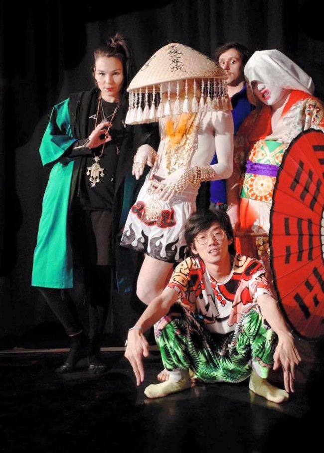 Aisha Devi (right) and Tianzhuo Chen (bottom center) with dancer Beio at Berghain in Berlin.