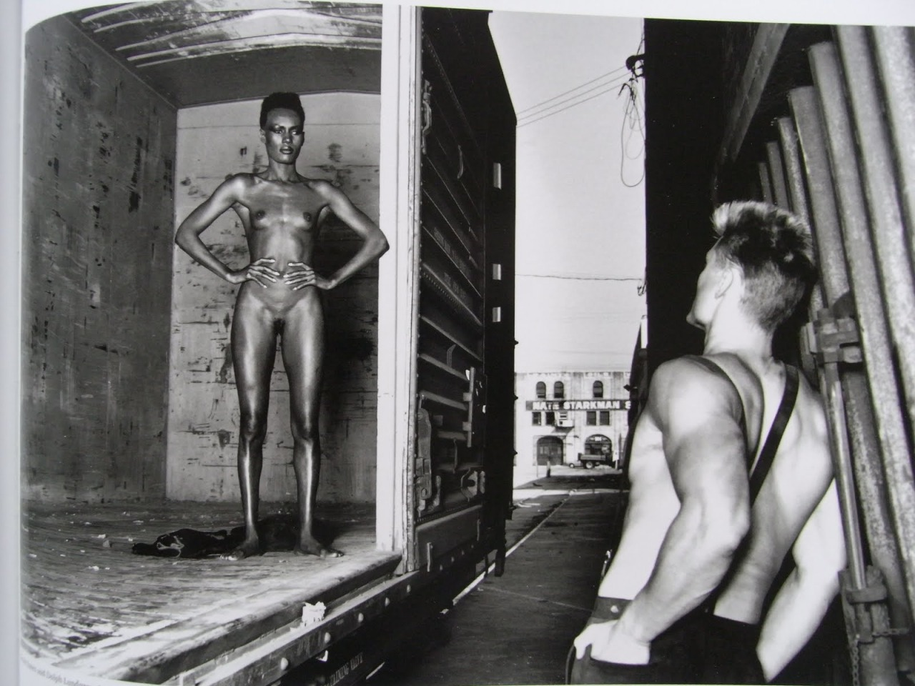 Helmut Newton portrait of Grace Jones and Dolph Lundgren.