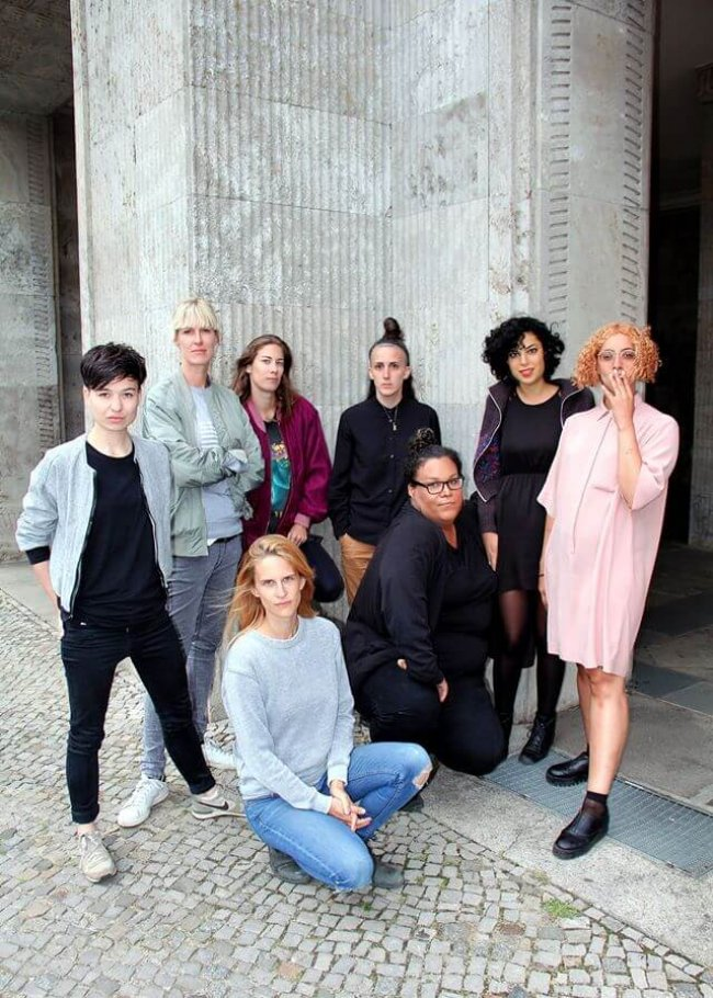 Ena Lind (left) and Zoe Rasch (second from left) with members of the Mint agency. Photo by Joie Iacono.