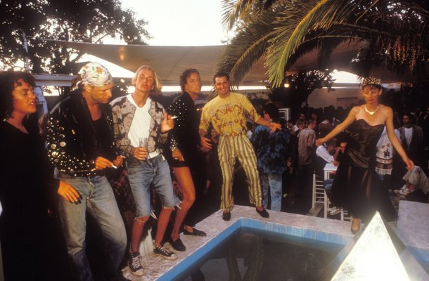 Clubbers dancing outdoors, Amnesia II courtyard, Ibiza 1989