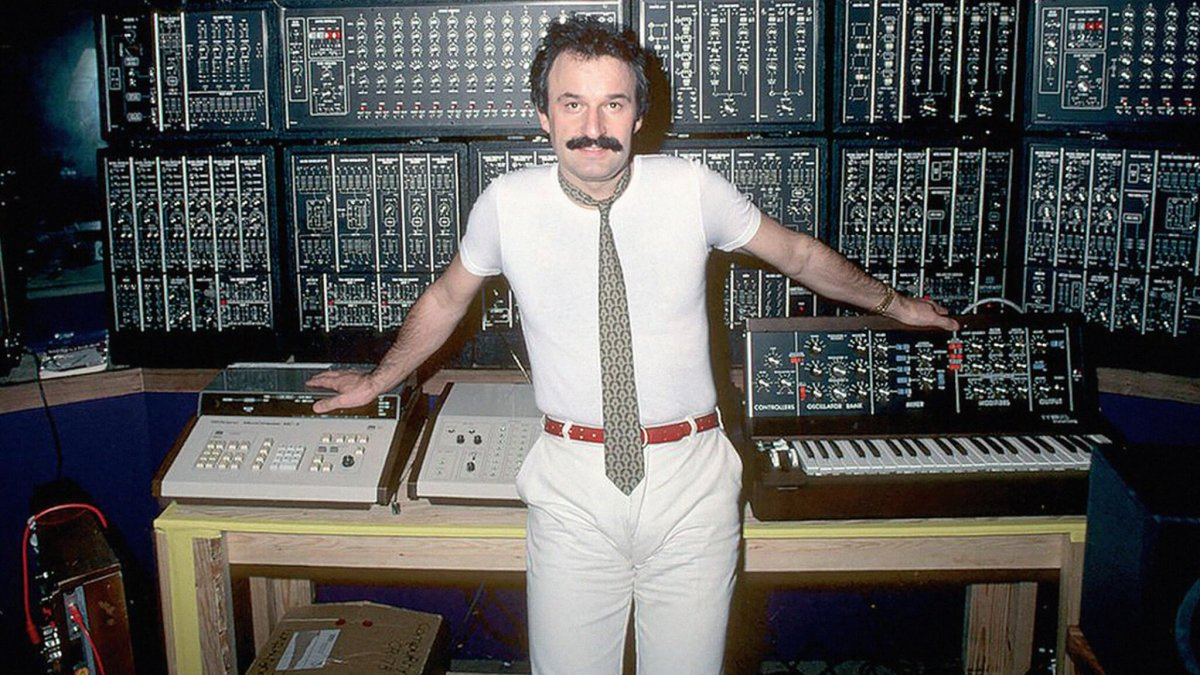 Giorgio Moroder in front of a Modular Synth
