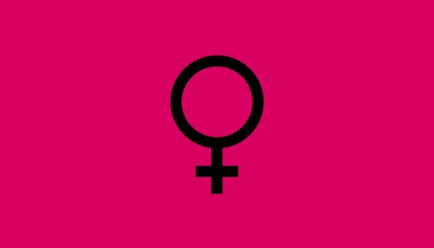 Graphic depicts a female symbol over a magenta backdrop
