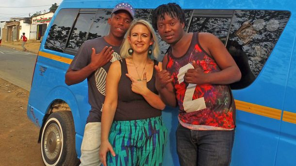 Photo: Gqom artists TLC Fam with Emily Dust