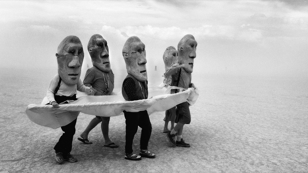Participation is key at Burning Man. The festival is known for its experimental sculptures, surreal buildings and interactive performances as well as its wide array of Mad Max-style cars. This photo was taken by Stewart Harveyat Burning Man's 1999 edition.