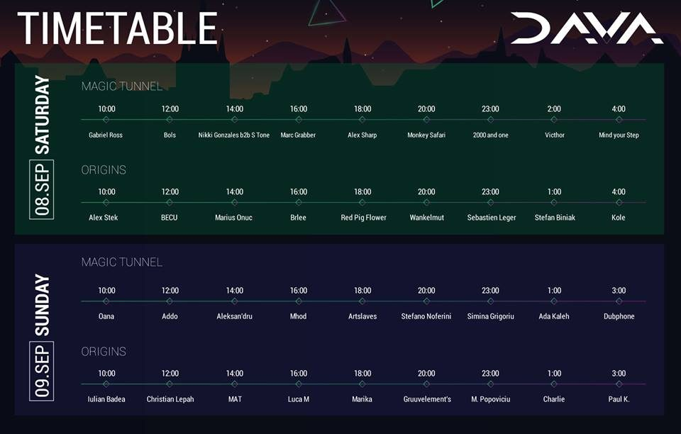 Dava festival timetable