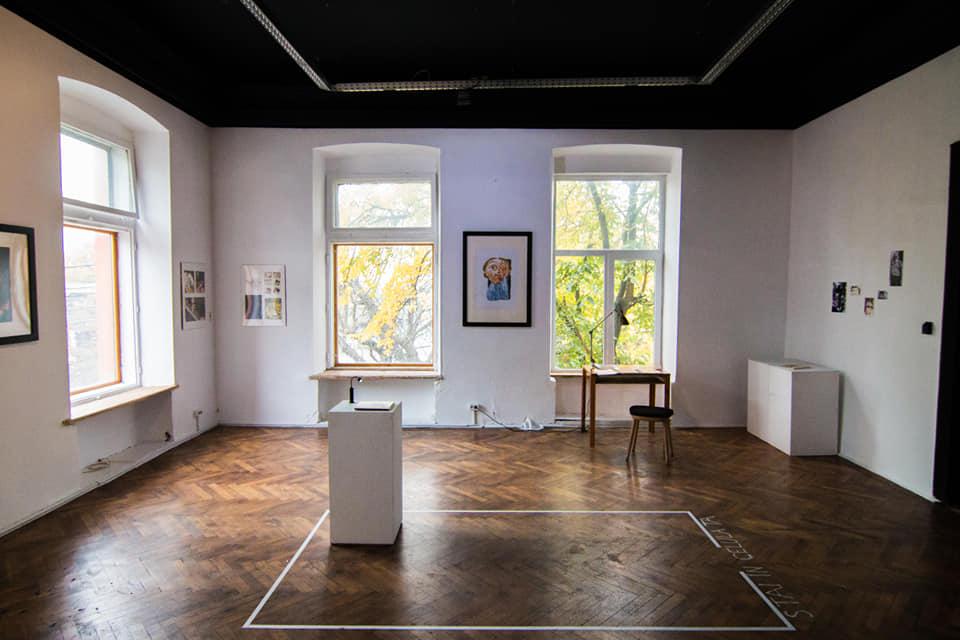 """Galeria Meru, spatiul actual în timpul proiectului """"În gura Marelui Urs"""" al artistei locale Ana-Maria Lemnaru"""